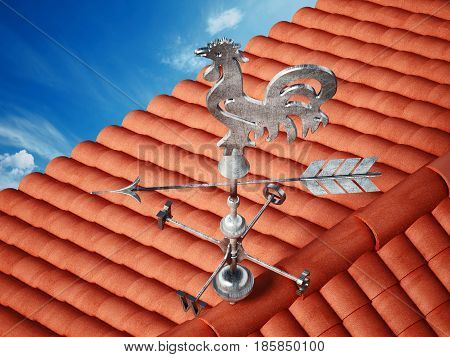 Wind signal on the roof. 3D illustration.