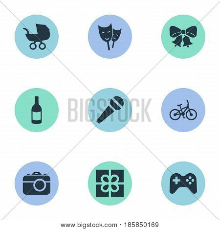 Vector Illustration Set Of Simple Celebration Icons. Elements Camera, Resonate, Mask And Other Synonyms Theater, Actor And Microphone.