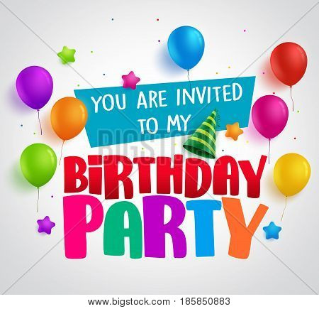 Birthday party invitation background vector design with greetings and colorful balloons and birthday elements in white. Vector illustration.