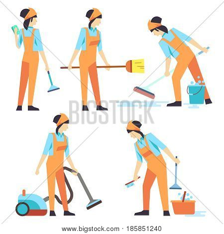 Cleaning service woman staff - cleaning staff of woman flat design. Set of cleaner professional woman. Vector illustration