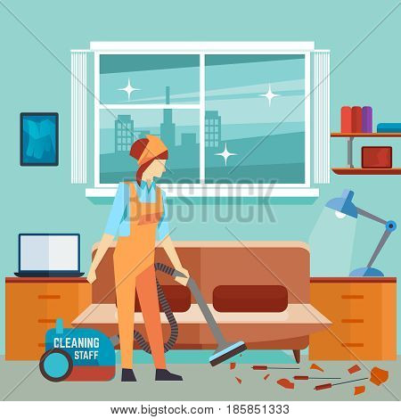 Flat woman vacuum cleaner in room - cleaning woman vector character. Housework service, work cleaner illustration