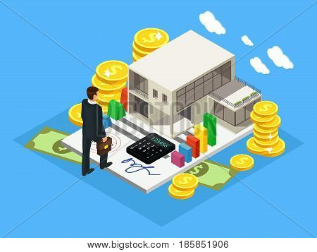Isometric finance and investment concept with successful businessman cottage gold coins cash money calculator isolated vector illustration