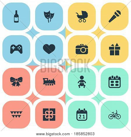 Vector Illustration Set Of Simple Birthday Icons. Elements Baby Carriage, Game, Beverage And Other Synonyms Date, Train And Resonate.