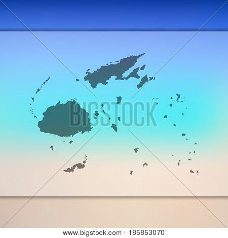 fiji map on blurred background with silhouette of vector flag. blur. travel