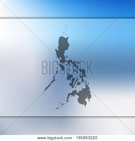 blurred background with silhouette of vector philippines map. flag. blur