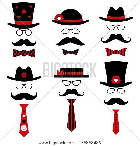 Male fashion entertaiment event glasses hat mustache. Vector set illustration