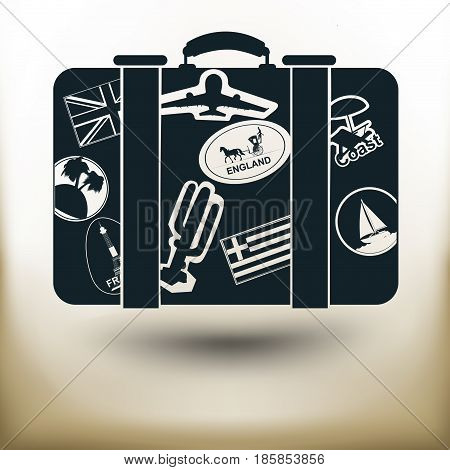 Simple symbolic image of a suitcase for traveling with stickers