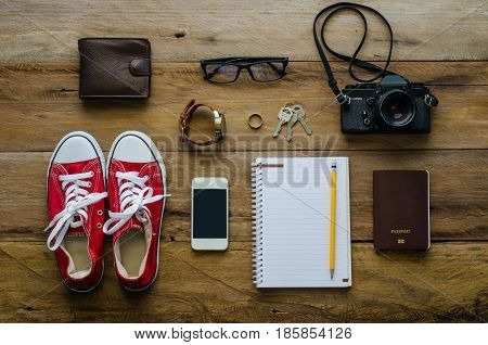 Travel accessories costumes. Passports, the cost of travel prepared for the trip