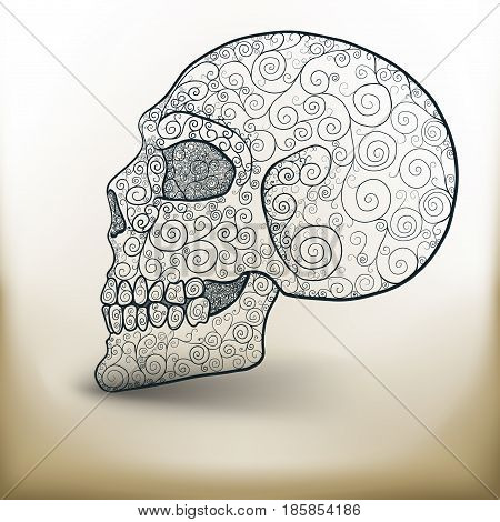 Simple symbolic image of a decorated skull