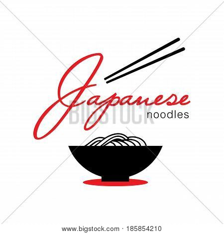 chewy japanese noodle in bowl logo with chopstick minimal look