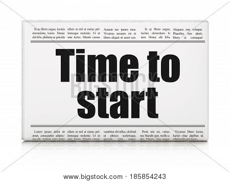 Time concept: newspaper headline Time to Start on White background, 3D rendering