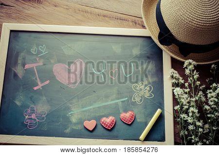Blackboard with words written in shock that the