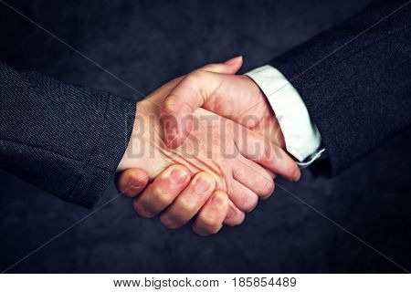 Joint enterprise handshake over business agreement male and female businesspeople shaking hands after forming a strategic partnership