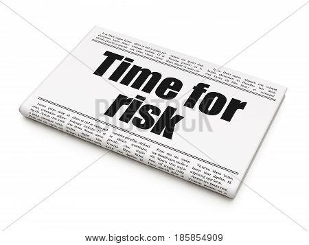Timeline concept: newspaper headline Time For Risk on White background, 3D rendering