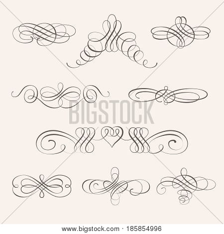 Set collection of calligraphic elements and page decorations.Can be used for decorate cards invitations create wallpapers templates border decorate books and letters. Vector illustration.