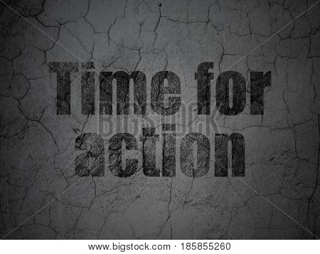 Timeline concept: Black Time For Action on grunge textured concrete wall background