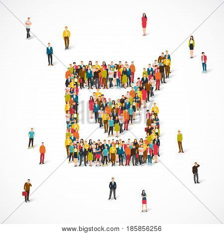 Large group of people stands in a square sign for a tick. Vector illustration on white background. The concept of vote.