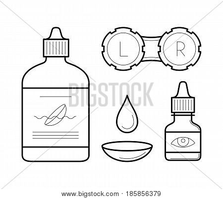 Vision correction equipment icons in thin line style. Ophthalmology medicine elements contact lens case, bottle with wash liquid, artificial tears and drop. Vector outline isolated on white