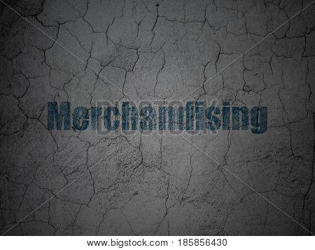 Marketing concept: Blue Merchandising on grunge textured concrete wall background
