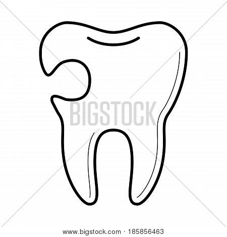 Tooth with cavity, tooth decay, hole damage, educational poster for medical clinic, professional treatment image, stomatology information pictogram, health concept. Vector illustration