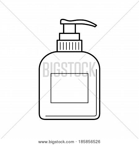 Thin line icon of plastic bottle with dispenser. Empty and clean plastic container with pump for liquid soap, care cream, shampoo, body cream.