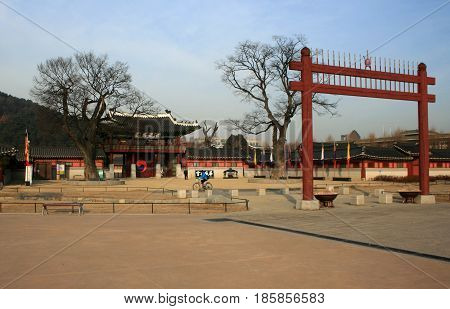 Hwaseong (Brilliant Castle/ Fortress), Suwon, South Korea - February 16, 2011 - The gate to the fortress in February 16, 2011, Hwaseong (Brilliant Castle/ Fortress), Suwon, South Korea