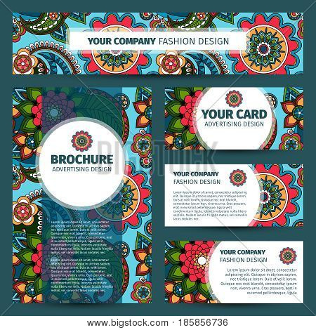 Corporate identity design with colorfull floral indian pattern. Vector illustration