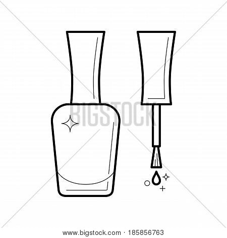 Nail polish thin line icon. Brush with cap and glass bottle. Blank template of container with purple varnish for manicure. Outline vector illustration isolated on white.