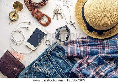 Travel accessories on white background ready for travel