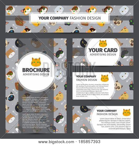 Corporate identity design with fur cats pattern, vector illustration