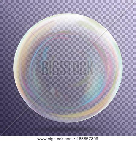 Transparent Soap Bubble. Realistic Vector Illustration. Air Bubble