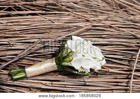 luxury Wedding bouquet. The concept of marriage and love. accessories for just married ceremony close-up. Fresh flowers.