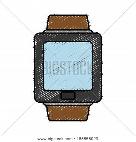 smart watch icon over white background. colorful design. vector illustration