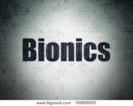Science concept: Painted black word Bionics on Digital Data Paper background