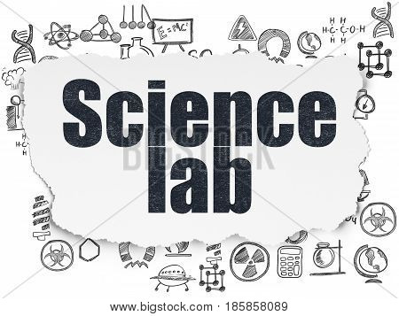 Science concept: Painted black text Science Lab on Torn Paper background with  Hand Drawn Science Icons