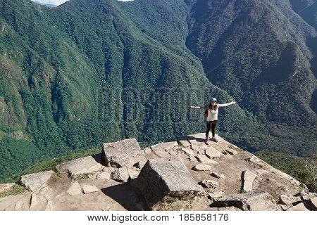 One Happy Girl On Mountain Peak