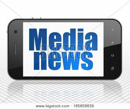 News concept: Smartphone with blue text Media News on display, 3D rendering