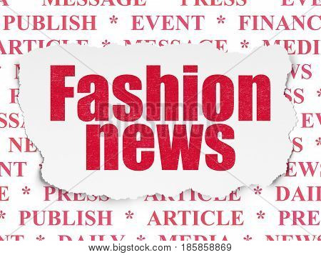 News concept: Painted red text Fashion News on Torn Paper background with  Tag Cloud