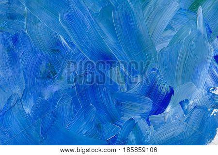 Abstract blue oil paint texture background, artwork, modern art