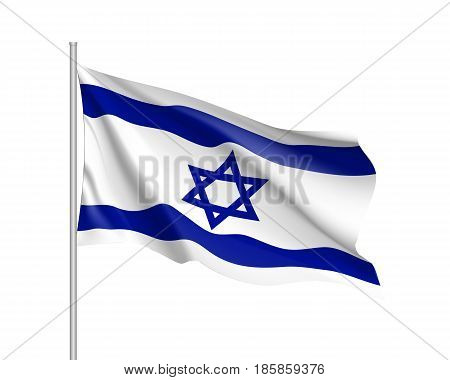 Israel national flag, patriotic symbol of country, educational and political concept, realistic vector illustration