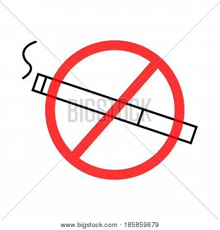 Vector image of a prohibiting smoking sign a flat icon.