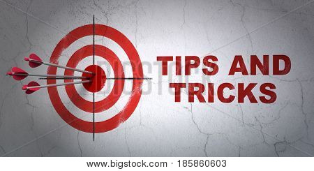 Success Learning concept: arrows hitting the center of target, Red Tips And Tricks on wall background, 3D rendering