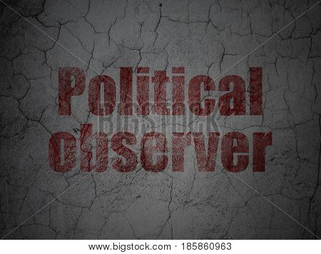 Political concept: Red Political Observer on grunge textured concrete wall background