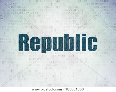 Politics concept: Painted blue word Republic on Digital Data Paper background