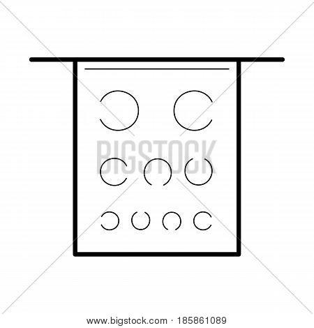 Eye test poster icon, line art pictogram, image for ophthalmology patient education materials, medical or optical salon picture, health science concept. Flat style vector illustration