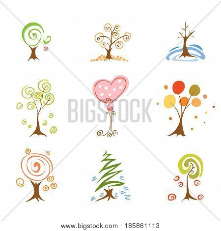 Set of abstract trees at different times of year/ Spring Summer Autumn Winter