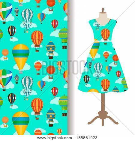 Womens dress fabric pattern design with vintage hot air ballons. Vector illustration