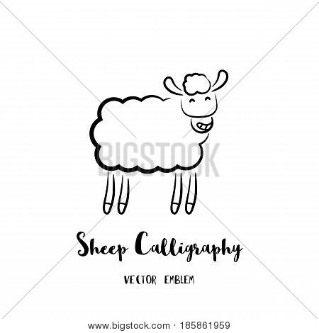 Sheep calligraphy emblem. Vector abstract animal sign in lettering style