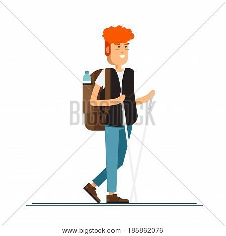 Male character, hiking tourist walk. A young man engaged in active sport. Vector illustration of a flat design