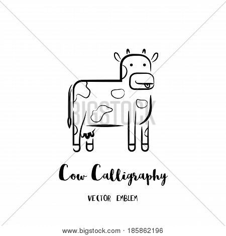 Cow calligraphy emblem. Vector abstract animal sign in lettering style